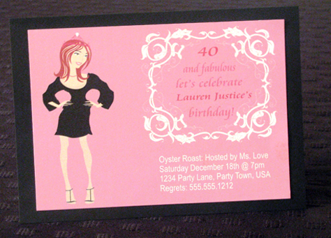 The Lauren - 40 and Fabulous Custom Birthday Invitation