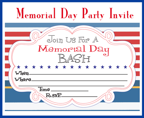 Party Inspiration: Memorial Day Printables  Party Invitation