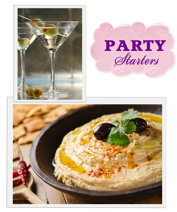 Dirty Vodka Martini's & Roasted Garlic Hummus