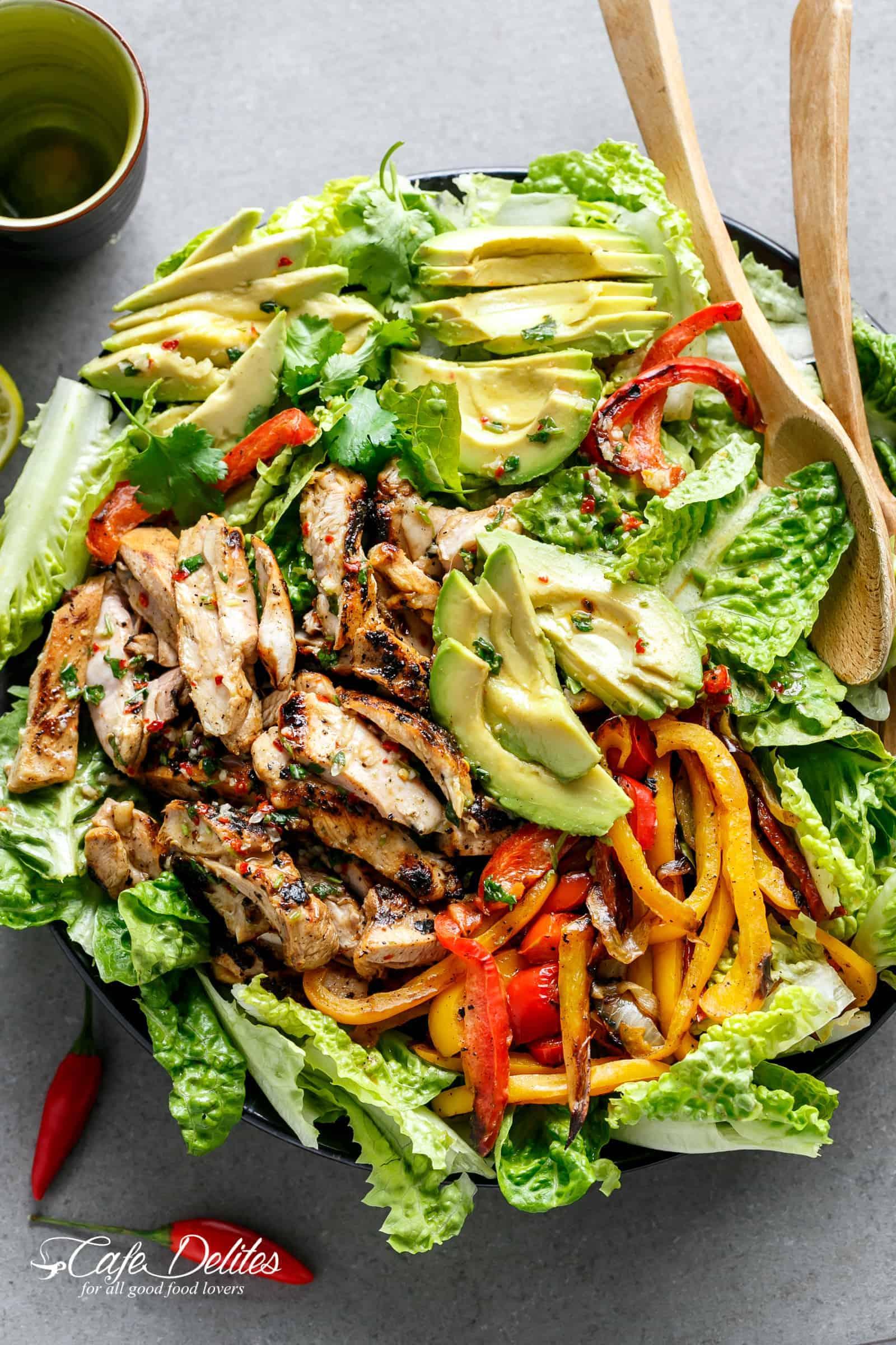 Grilled Chili Lime Chicken Fajita Salad