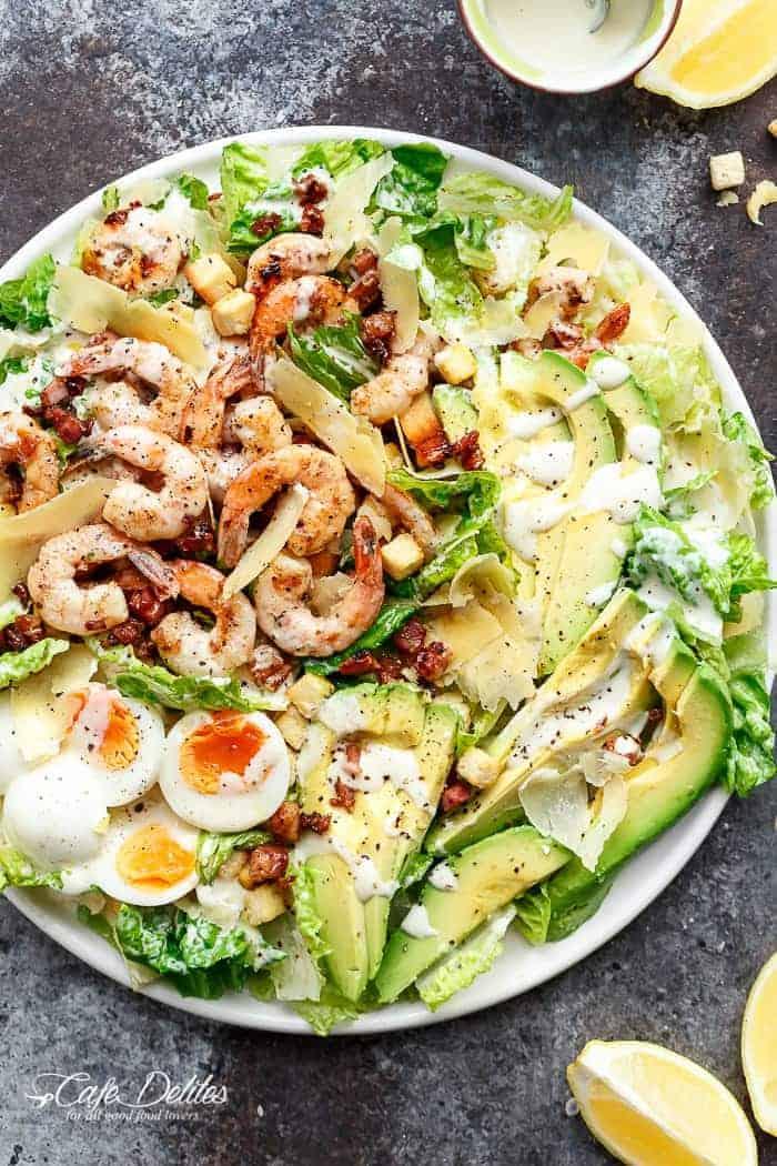 Skinny Lemon Garlic Shrimp Caesar Salad