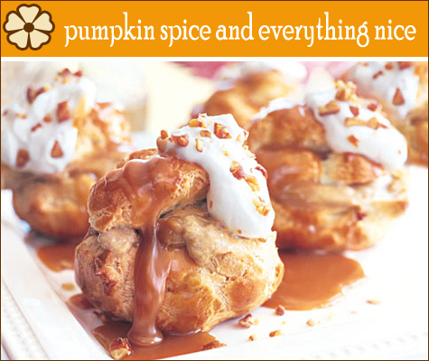 Pumpkin Custard Profiteroles with Maple Caramel