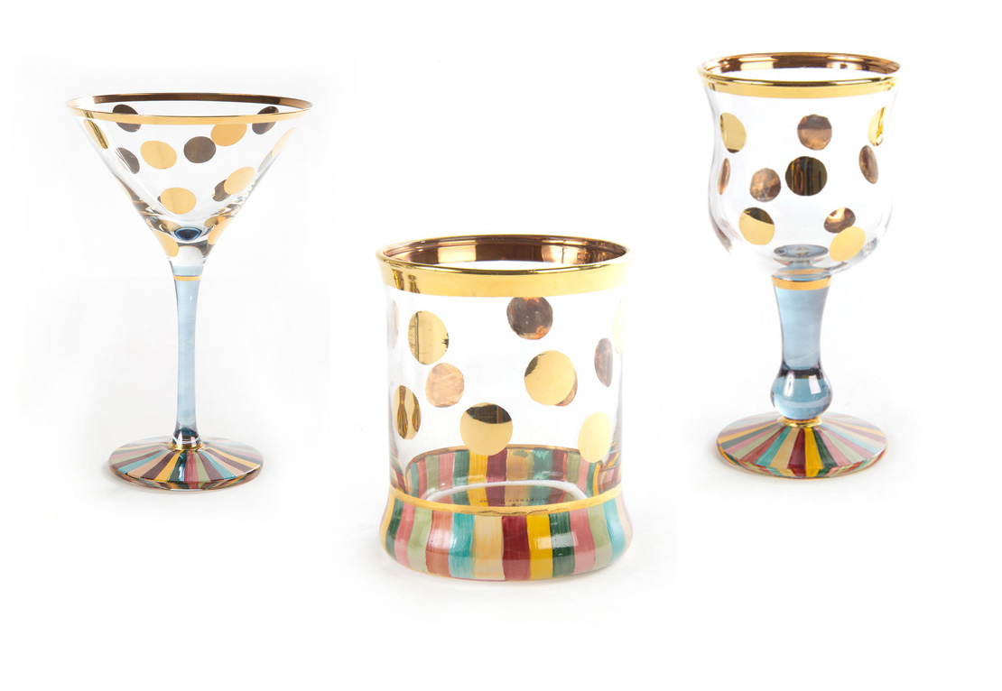 5 Summer Bar Cart Essentials - MacKenzie-Childs Foxtrot Martini Glass, Tumbler