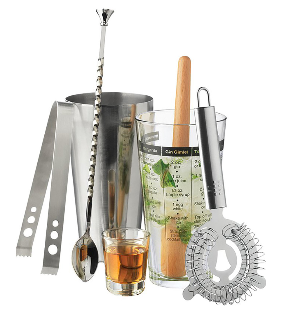 5 Summer Bar Cart Essentials - Modern 7 Piece Bar Mixologist Set