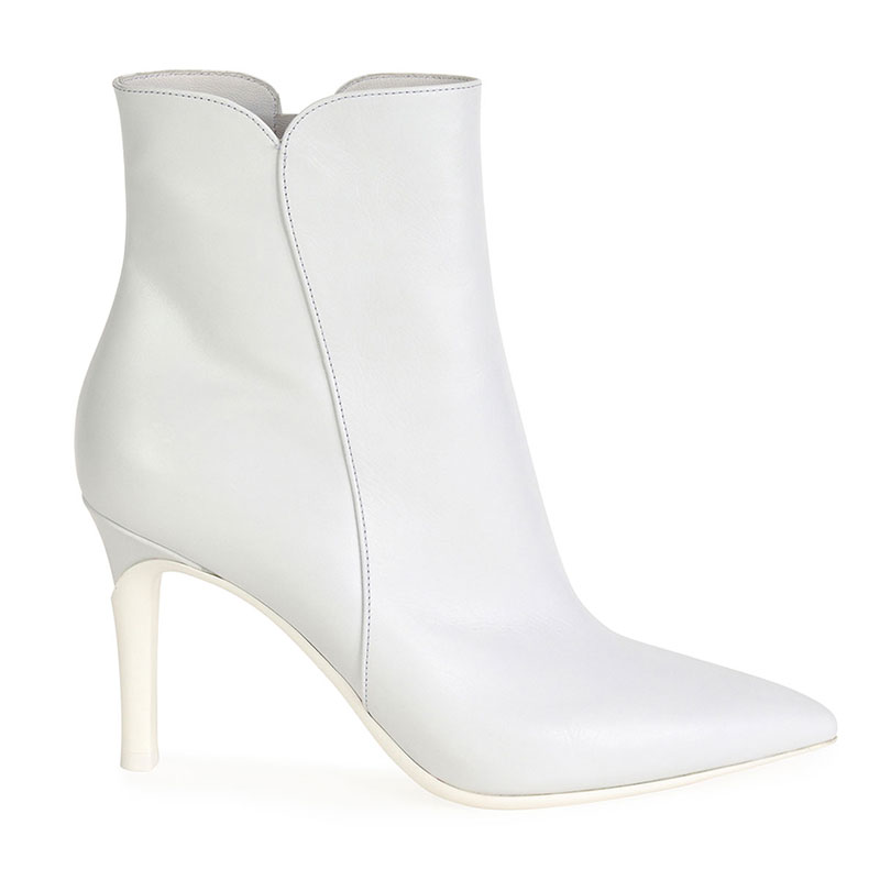 White Soft Pointed Zip Booties | Style Essentials | The Posh Guide